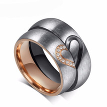 Cubic Zirconia Love Heart Couple Rings Promise Ring Wedding Bands Bridal... - $24.98