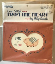 New Leisure Arts From The Heart Kit Pig O'My Heart #716 CROSS STITCH Milly Smith - $22.79