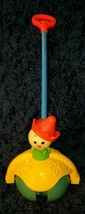 Fisher Price Clown Toy #758 Roll Along Popper Wood Handle Push Toy Vinta... - $14.84