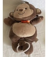 Carters Musical Monkey Plush Crib Toy Pull Down Brahms Lullaby Orange Bow - $23.75