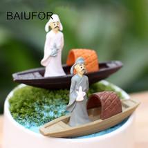 BAIUFOR Miniature Terrarium Mini Boat People Fairy Garden - $11.95