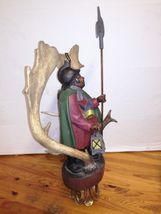 Rare Antique Germany 1930 black forest ceiling lamp wood carved Lüstermännchen image 6