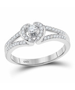 10k White Gold Womens Round Diamond Heart Promise Bridal Ring 1/4 Cttw - £271.21 GBP
