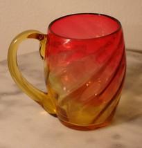 Victorian Amberina Art Glass Swirl Rib Optic Handled Cup - $116.88