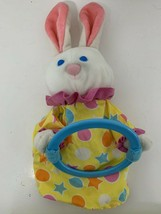 Avon vintage 1989 Easter bunny rabbit hand puppet yellow blue pink polka... - $14.84