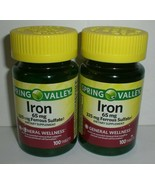 Spring Valley Iron 65mg 325mg Ferrous Sulfate Wellness Supplement 200 Ta... - $14.84