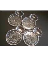 4 Vintage Pressed Glass Flower Coasters with Spoonrest or Tea Bag Holder - $6.00