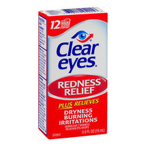 3 Pack - Clear Eyes Redness Relief Eye Drops .5 fl oz (15 ml ) Each - $11.26