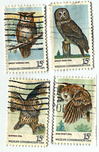 FOUR 15-CENT OWL STAMPS. - $0.99