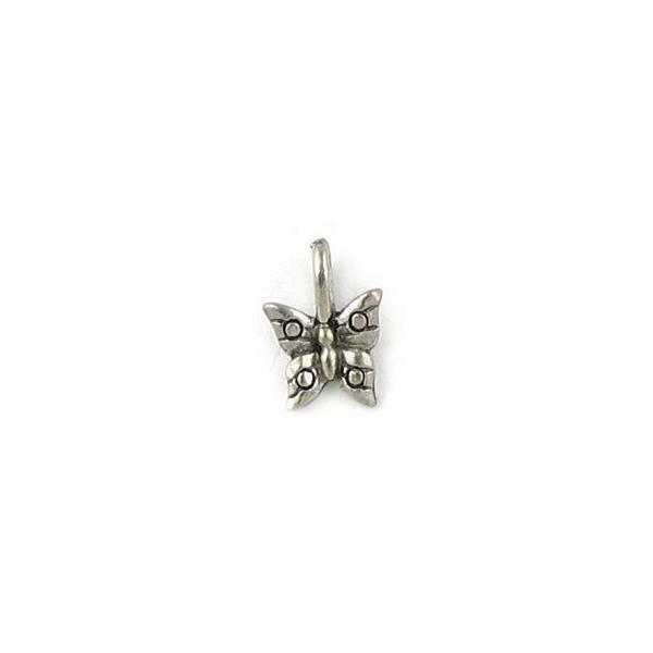 BUTTERFLY FINE PEWTER PENDANT CHARM - 9x12.5x2.5mm