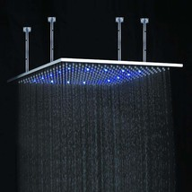 "24"" Multicolor Stainless Steel Ceiling Mount LED Showerhead - Square - $517.25"