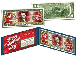 HAPPY VALENTINE'S DAY Keepsake Gift Colorized $2 Bill US Legal Tender *R... - $13.81