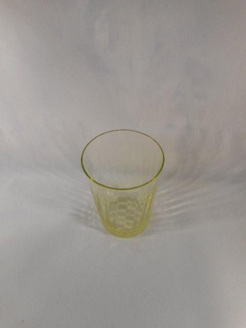 """Vintage 4"""" Tall Vaseline Topaz Glass Tumbler"""