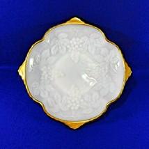 Vintage Translucent White Milk Glass Bowl Grape Design Anchor Hocking Gold 1950 - $9.50