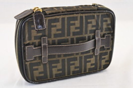 FENDI Zucca Canvas Pouch Black Brown Auth sa1723 Inside Sticky - $201.26