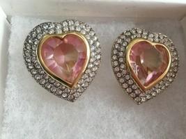 VINTAGE Kenneth Lane HEART Rhinestones Pink Glass GOLD TONE CLIP EARRINGS - $38.33