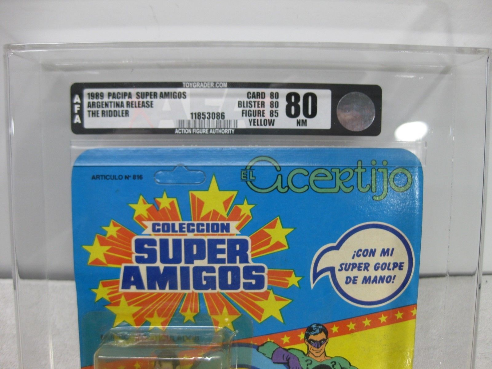 1989 Super Powers ,,Super Amigos Pacipa Argentina Release The Riddler AFA 80 NM