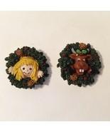 Wreath 2 Pins Brooch Resin Moose Angel Girl Painted Christmas Holiday Cute - $15.00