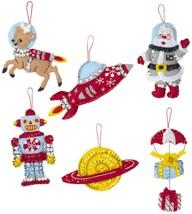 Bucilla Felt Ornaments Applique Kit Set Of 6-Rocket Ship Santa - $19.86