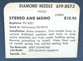 619-DS73 PHONOGRAPH RECORD PLAYER NEEDLE for Delmonico PU-3012 DTS-1 PU-2001 image 3