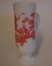 Avon ~ Milk Glass Pink Country Scene Irish Demitasse Coffee Cup Mug - $12.95