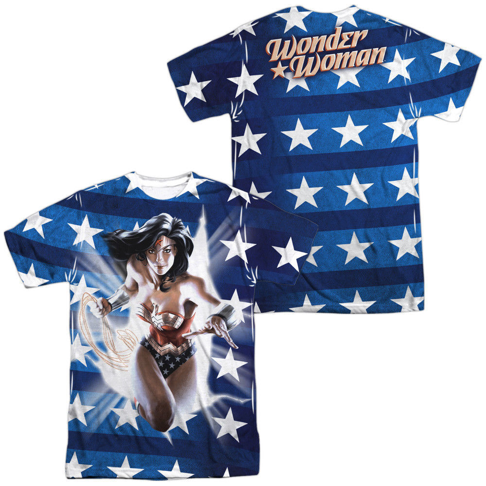 Primary image for JLA Justice League America Wonder Woman USA Flag Sublimation Front Back T-shirt