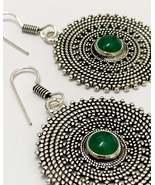Green onyx circle earrings for women, mandala earrings, gemstone earrings - $22.10