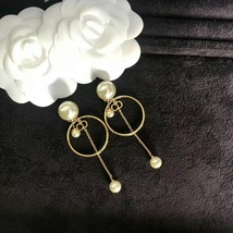 Authentic Christian Dior 2019 Tribales Double Pearl Dangle Drop Long EARRINGS image 11