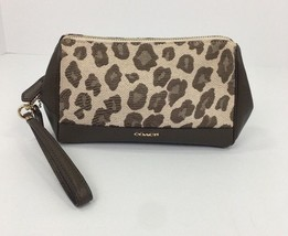Coach Madison Jacquard Ocelot Print Large Wristlet Clutch Chestnut 50986... - $64.34