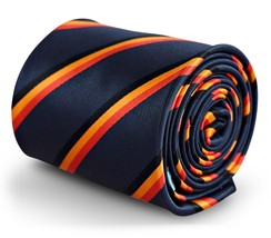 Frederick Thomas Navy Mens Tie with Belgium Flag Red, Black & Orange Wor... - $17.40