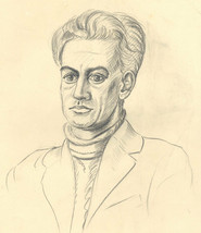 E. Gaston Longney - Mid 20th Century Graphite Drawing, Man in Turtle Neck - $17.08