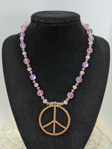 Peace Sign with Pink Mermaid Glass and Crystal Beads Necklace, 18 inches - $20.00