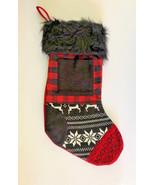Christmas Stocking Buffalo Plaid Fair Isle Faux Fur Cabin Lodge Rustic P... - $29.58