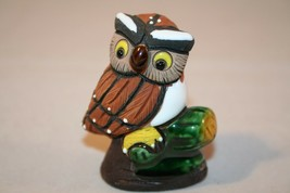 Folk Art Clay Ceramic Owl Figure Figurine Signed Maguz - $7.99