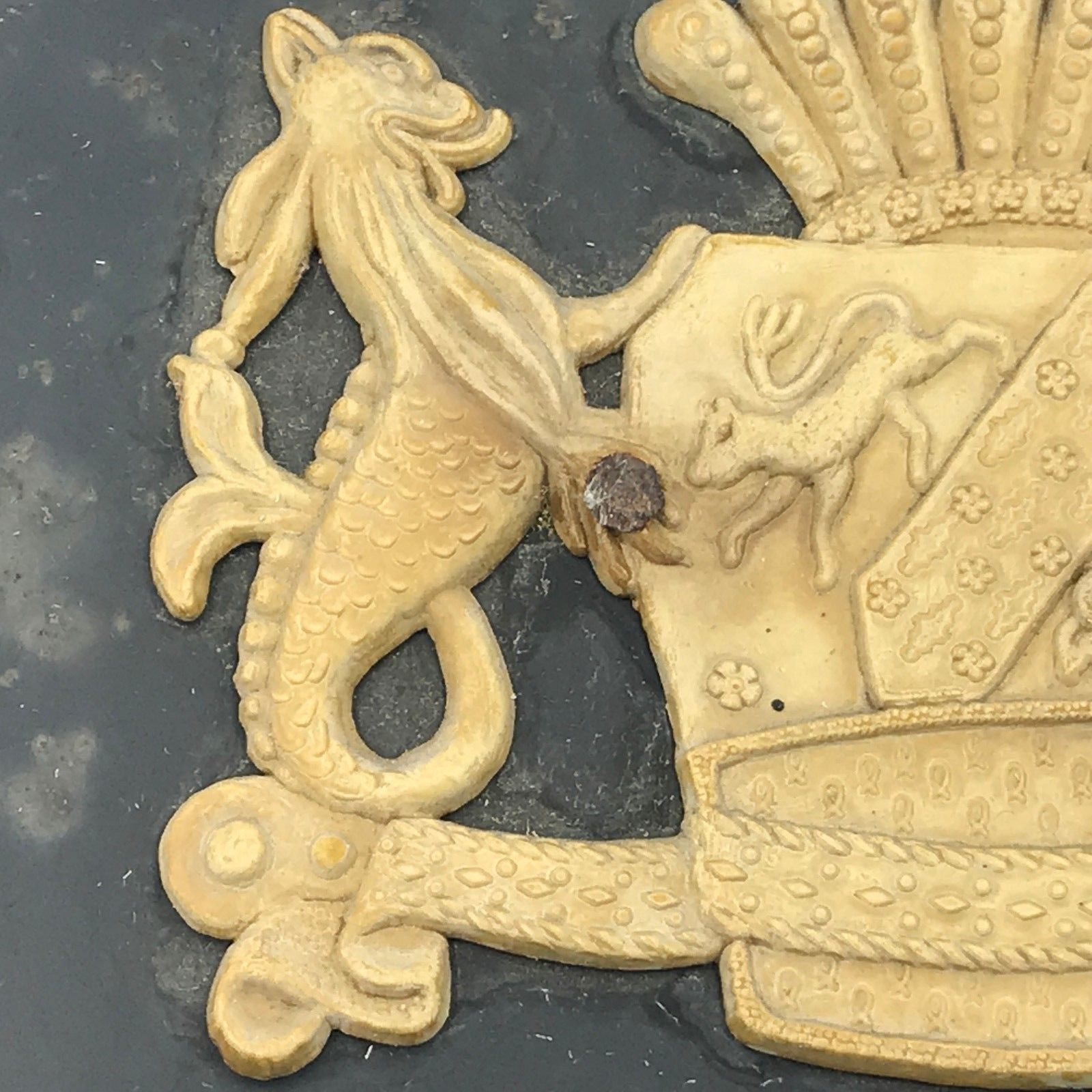 Vintage Wall Mailbox Metal Mythical Sea Monster Seahorse Creatures Crest Hook MT