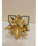 "Danbury Mint - 1990 Gold Christmas Ornament -  ""Poinsettia"" (B6) - $12.95"