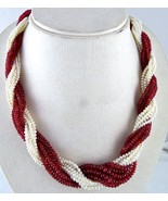 NATURAL RED SPINEL RUBY PEARL BEADS ROUND 592 CARATS TWISTED GEMSTONE NE... - $2,660.00
