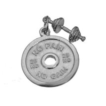 Sterling Silver .925 No Pain No Gain Weight Plate Dumbbell Charm 2 Piece Jewelry - $35.43