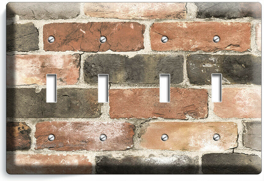 RUSTIC RECLAIMED WORN OUT BRICK WALL LIGHT SWITCH OUTLET PLATES ROOM HOME DECOR