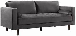 Meridian Furniture Emily Modern Grey Velvet Wooden Legs Sofa - $25.720,76 MXN