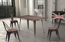 """NEW LARGE 59"""" VINTAGE INDUSTRIAL ERA STYLE METAL & BAMBOO WOOD DINING TABLE - $695.00"""