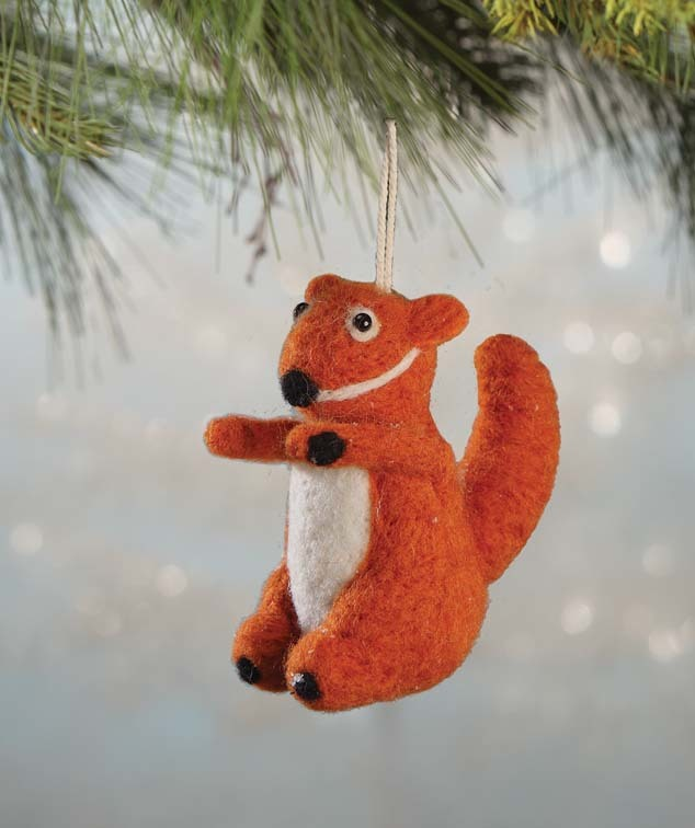 Wool Felted Squirrel Ornament by Bethany Lowe