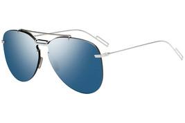 Christian Dior DIOR 0222S Palladium/Blue Mirrored (DOH/2A) Sunglasses NEW - $266.48
