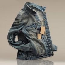 Men's Slim Fit Classic Retro Thicken Coat Jean Denim Jacket Lapel Outerw... - $48.24
