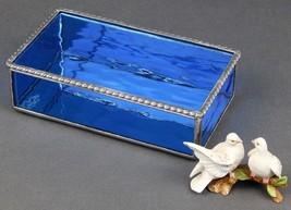 A LIGHT ROYAL BLUE WATERGLASS JEWELRY BOX WITH A BEAUTIFUL ROAP TWIST ED... - $69.25