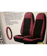 Kraco Car Seat Covers Set of 2 & Steering Wheel Cover Airbag Safe Pink L... - $46.74