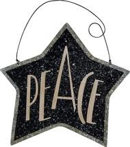 PBK Christmas Ornament - Black Tin Star Peace #22827 - $7.95