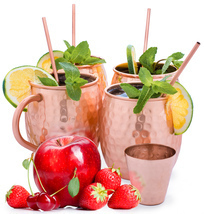 Set of 4 Moscow Mule Mugs (16oz), 4 Copper Cocktail Straws, 2 Copper Gla... - £19.46 GBP