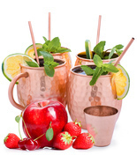 Set of 4 Moscow Mule Mugs (16oz), 4 Copper Cocktail Straws, 2 Copper Gla... - £19.48 GBP