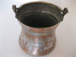 ANTIQUE COPPER KETTLE Pot Cauldron Pail Hammered Forged Wrought Iron Han... - $59.99